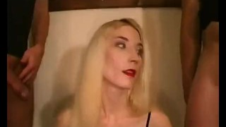 Blonde chick fucking skinny and passion sucking with jizz cum
