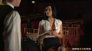 Stunning brunette waitress Jasmine Jae is taught how to squirt