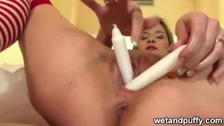 Teen Using unusual sex toy