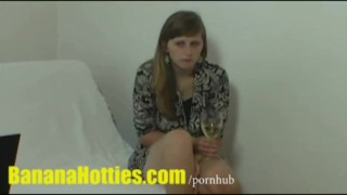 Real czech student plays with dick at CASTING Fingering playful