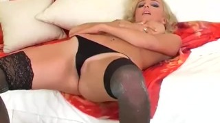 In blonde shiny wet stockings fingering her black busty cutie pussy busty nylons