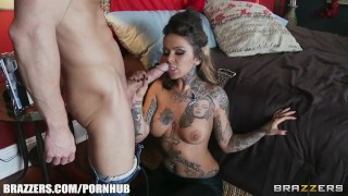 Incredibly HOT tattooed babe cheats on her man with her ex-lover