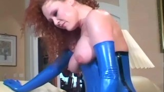 Sexy redhead sucking cock and anal in stockings and a latex corset