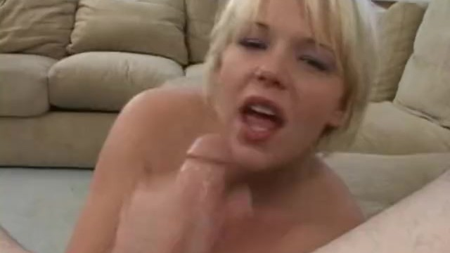 Short haired blondy slurps his cock 9