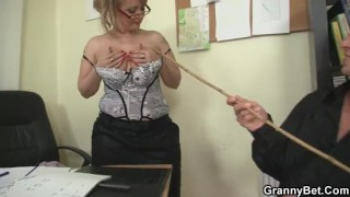 Office bitch enjoys riding his meat Of boobs
