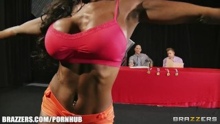 Preview 3 of Four big-tit fitness fanatics strip down for a hardcore orgy
