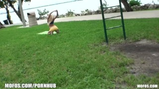 Picked for park the quick is a up blonde yoga flexible girl fuck at big big