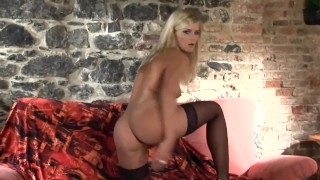 Glamour babe in panties stockings and stilettoes stripping naked porno