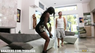 Preview 2 of Horny Ebony MILF Diamond Jackson gets some help learning to squirt