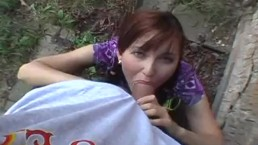 Outdoor Blowjob Gets A Match Point