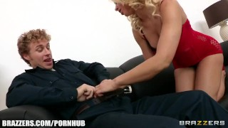Horny blonde pornstar Anikka Albrite has a squirting orgasm close-up