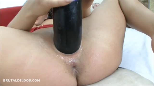 Brutal crazy dildo Brunette fucks her pussy like crazy with a big black brutal dildo in hd