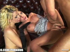 Slutty blonde and brunette call girls share one hard cock