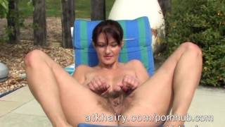 Busty hairy Vanessa gets naked at the pool Tits fucking