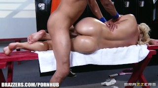 Anikka Albrite is given a sensual massage in the locker room Busty black