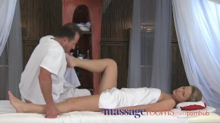 Massage Rooms Powerful g-spot orgasm for her little pussy Boobs big