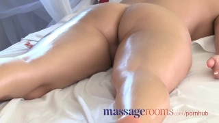 Massage Rooms Powerful g-spot orgasm for her little pussy Lesbian brunette