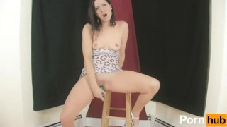 Playing with herself on a stool