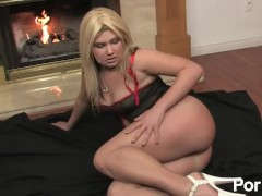 Flexible Blonde Bitch Masturbates by the Fireplace
