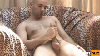Solo bald guy masturbates on couch Licking suck
