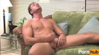 Blue-eyed hunk stroking his cock Gayanime chubby