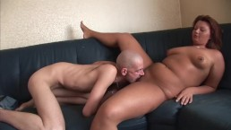 Chubby redhead pleases two skinny guys
