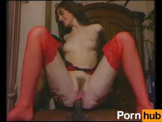 Horny brunette gets served by a big black dick