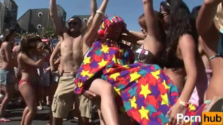 Beach scene party break  spring big blonde