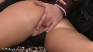 Milf length brunette takes his mom busty milf tits