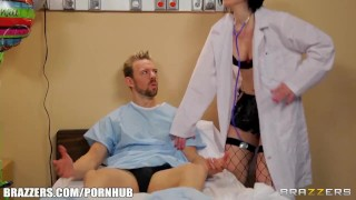 SEXY doctor in fishnets gives her patient a thorough checkup