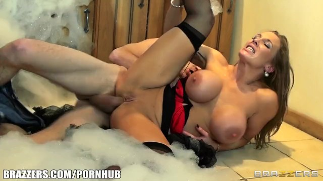Big-tit British nanny distracts Danny D the plumber with her huge-tits