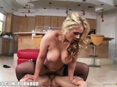 Busty blonde wife helps her man celebrate steak & a blowjob day