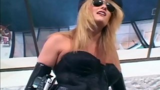 Pretty female officer in her uniform and latex gloves fucking a guy