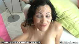 Busty latina gets a big load in her face