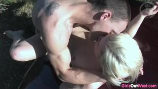 Screams while fucked frisky amateur pleasure blondie in couple girls