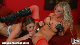 Masked voyeur gets penetrated by her lesbian dominatrix