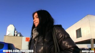 Beautiful Czech is paid to model her panties and fuck in public porno