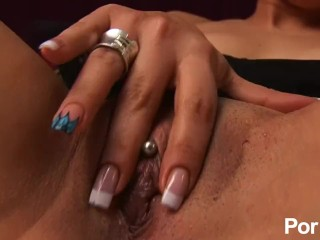 Hot chick playing with beads