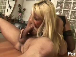 Hot Blonde Shemale Sucks And Fucks