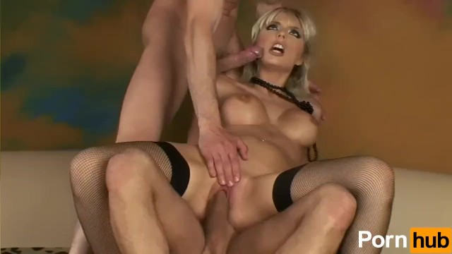 Blonde Babe Takes Two Cocks - 4