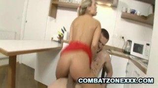 Mature Euro babe Mia Leone fucking inside the kitchen