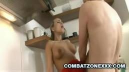 Mature Euro babe Mia Leone fucking inside the kitchen