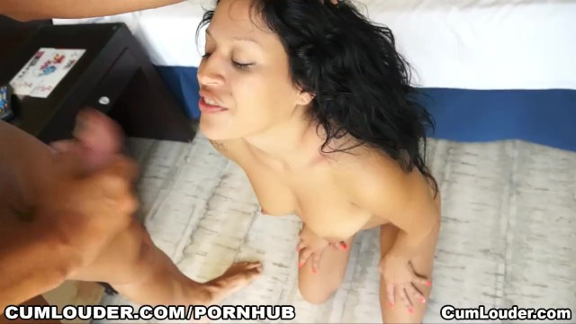 Horny Latina gets Cum all over her Face - 16
