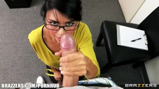 Dana Vespoli inspects Keiran Lee's cock for insurance purposes Blow young