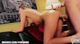Stunning blonde invites a stranger to her place for a quick fuck