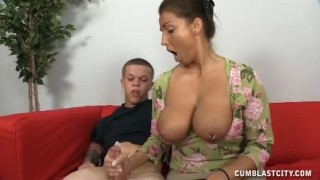 A Busty Mature Lady Jerks Off A Short Man porno