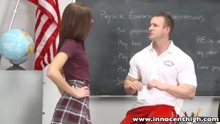 Preview 1 of InnocentHigh Smalltits schoolgirl teen rides teachers cock