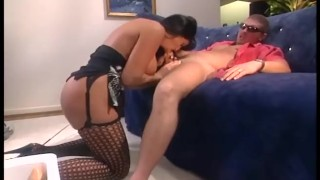 Busty brunette fucked in black thigh high stockings and a garter belt Pornstar tits