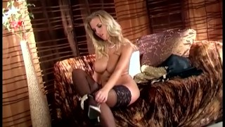 Busty blonde rubbing her pussy in thigh high stockings and high heels Big raven