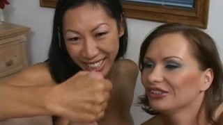 Two perfect chicks share a small penis Riding brunette